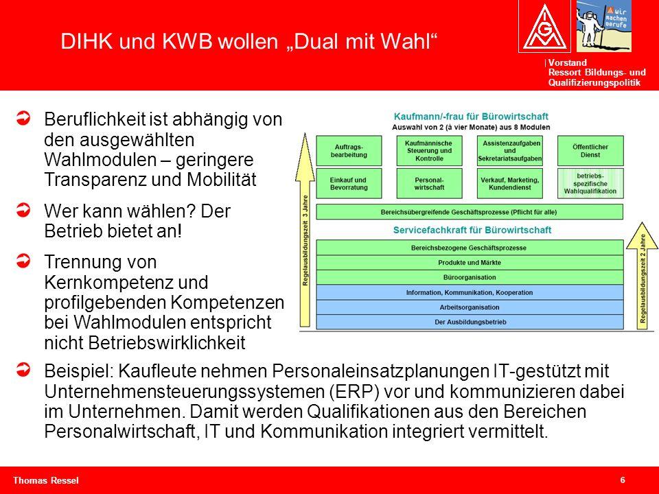 Vorstand Ressort Bildungs- und Qualifizierungspolitik 6 Thomas Ressel Beispiel: Kaufleute nehmen Personaleinsatzplanungen IT-gestützt mit Unternehmens