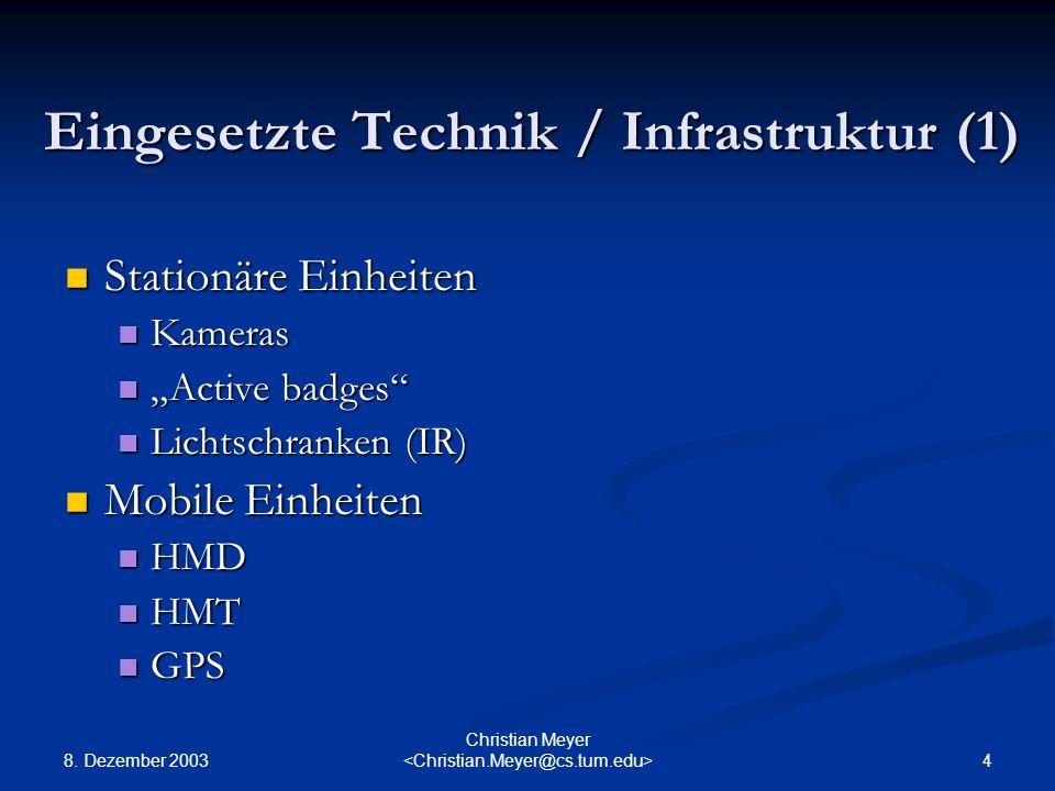 8. Dezember 2003 4 Christian Meyer Eingesetzte Technik / Infrastruktur (1) Stationäre Einheiten Stationäre Einheiten Kameras Kameras Active badges Act