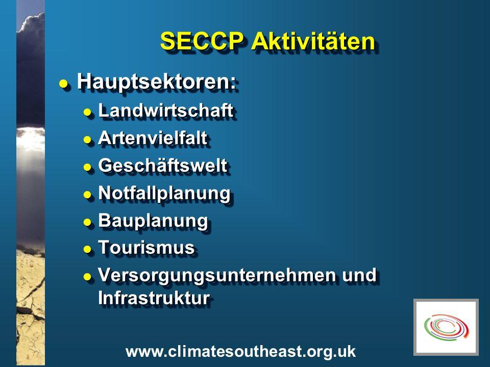www.climatesoutheast.org.uk SECCP Aktivitäten l Hauptsektoren: l Landwirtschaft l Artenvielfalt l Geschäftswelt l Notfallplanung l Bauplanung l Touris