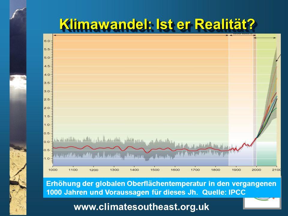www.climatesoutheast.org.uk Klimawandel: Ist er Realität? Erhöhung der globalen Oberflächentemperatur in den vergangenen 1000 Jahren und Voraussagen f