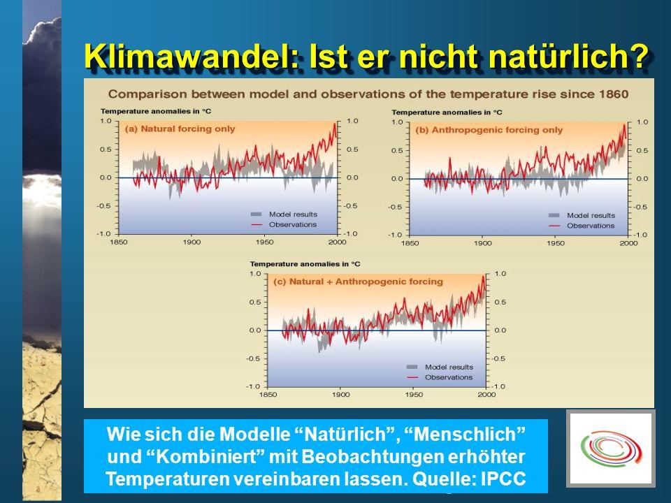 www.climatesoutheast.org.uk Klimawandel: Ist er nicht natürlich? Wie sich die Modelle Natürlich, Menschlich und Kombiniert mit Beobachtungen erhöhter