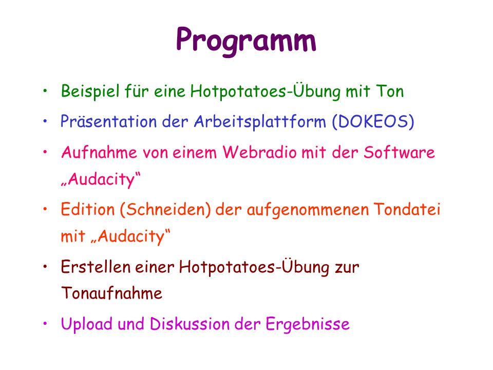 Programm Beispiel für eine Hotpotatoes-Übung mit Ton Präsentation der Arbeitsplattform (DOKEOS) Aufnahme von einem Webradio mit der Software Audacity