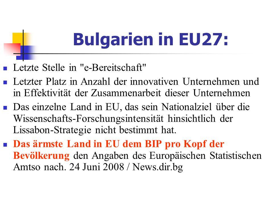 Bulgarien in EU27: Letzte Stelle in