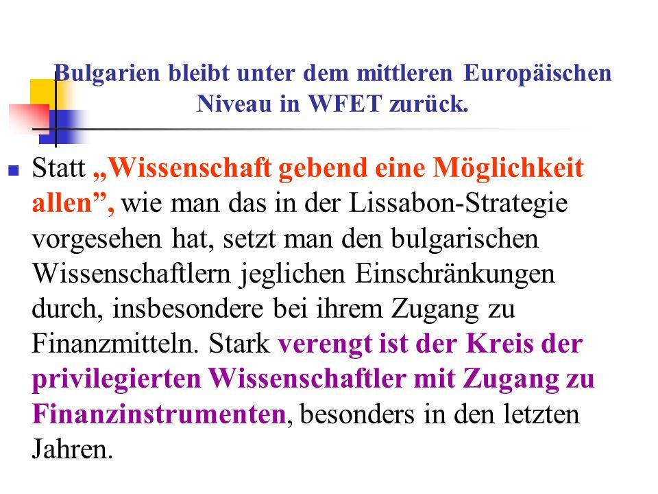 Bulgarien bleibt unter dem mittleren Europäischen Niveau in WFET zurück. Statt Wissenschaft gebend eine Möglichkeit allen, wie man das in der Lissabon