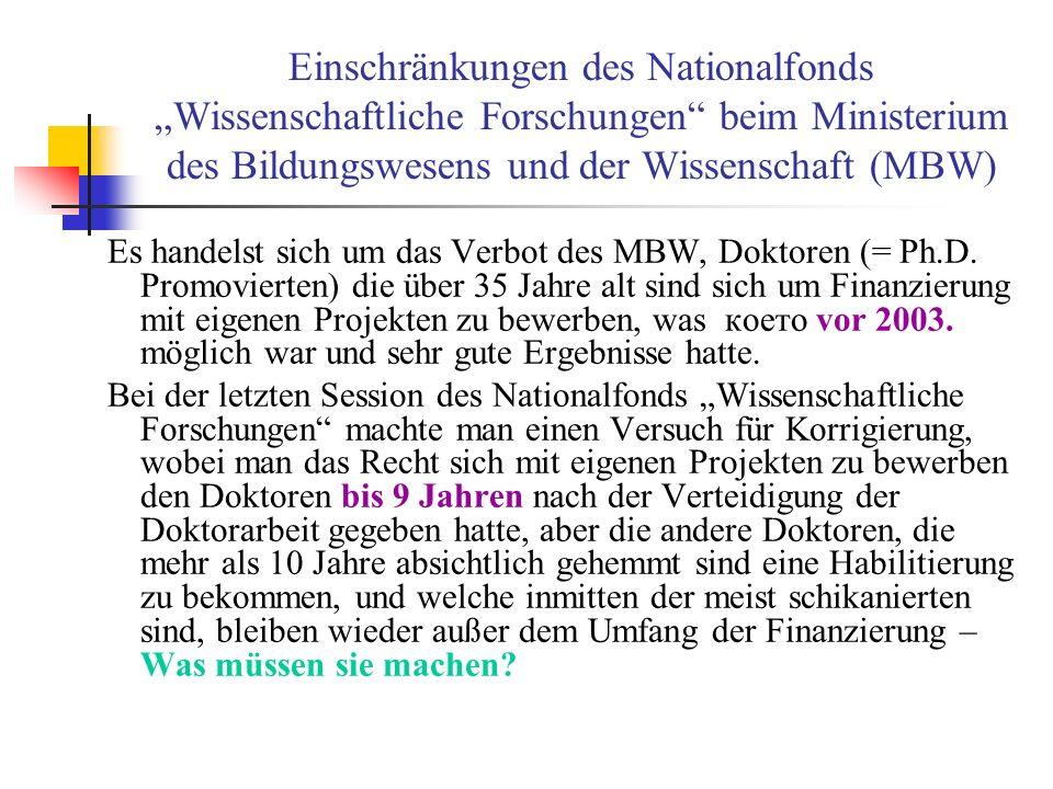 Einschränkungen des Nationalfonds Wissenschaftliche Forschungen beim Ministerium des Bildungswesens und der Wissenschaft (MBW) Es handelst sich um das