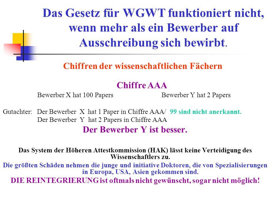 Das Gesetz für WGWT funktioniert nicht, wenn mehr als ein Bewerber auf Ausschreibung sich bewirbt. Chiffren der wissenschaftlichen Fächern Chiffre ААА
