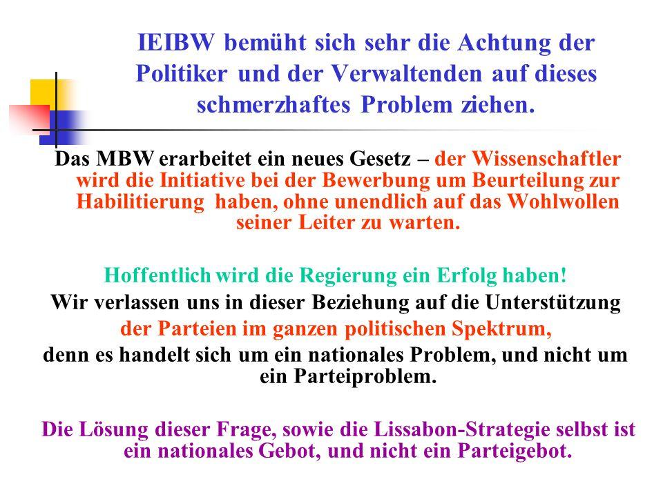 IEIBW bemüht sich sehr die Achtung der Politiker und der Verwaltenden auf dieses schmerzhaftes Problem ziehen. Das MBW erarbeitet ein neues Gesetz – d