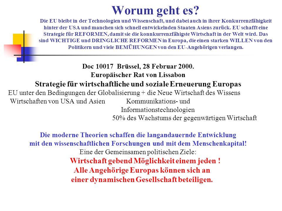 Inmitten der Prioritäten der EU sind: * е-Europa – Informationsgesellschaft für jeden Mensch * Unternehmertum * Europäischer Forschungsraum EU stellt die nachstehende Aufgabe: Förderung der Mobilität der Wissenschaftler und Anziehen der besten Weltwissenschaftler nach Europa.