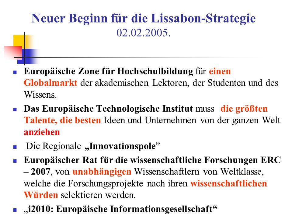 Neuer Beginn für die Lissabon-Strategie 02.02.2005. Europäische Zone für Hochschulbildung für einen Globalmarkt der akademischen Lektoren, der Student