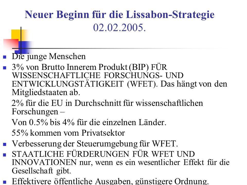 Neuer Beginn für die Lissabon-Strategie 02.02.2005. Die junge Menschen 3% von Brutto Innerem Produkt (BIP) FÜR WISSENSCHAFTLICHE FORSCHUNGS- UND ENTWI