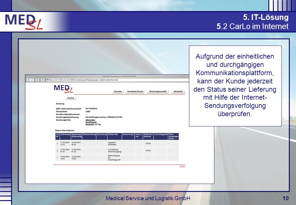 Medical Service und Logistik GmbH10 5. IT-Lösung 5.2 CarLo im Internet Aufgrund der einheitlichen und durchgängigen Kommunikationsplattform, kann der