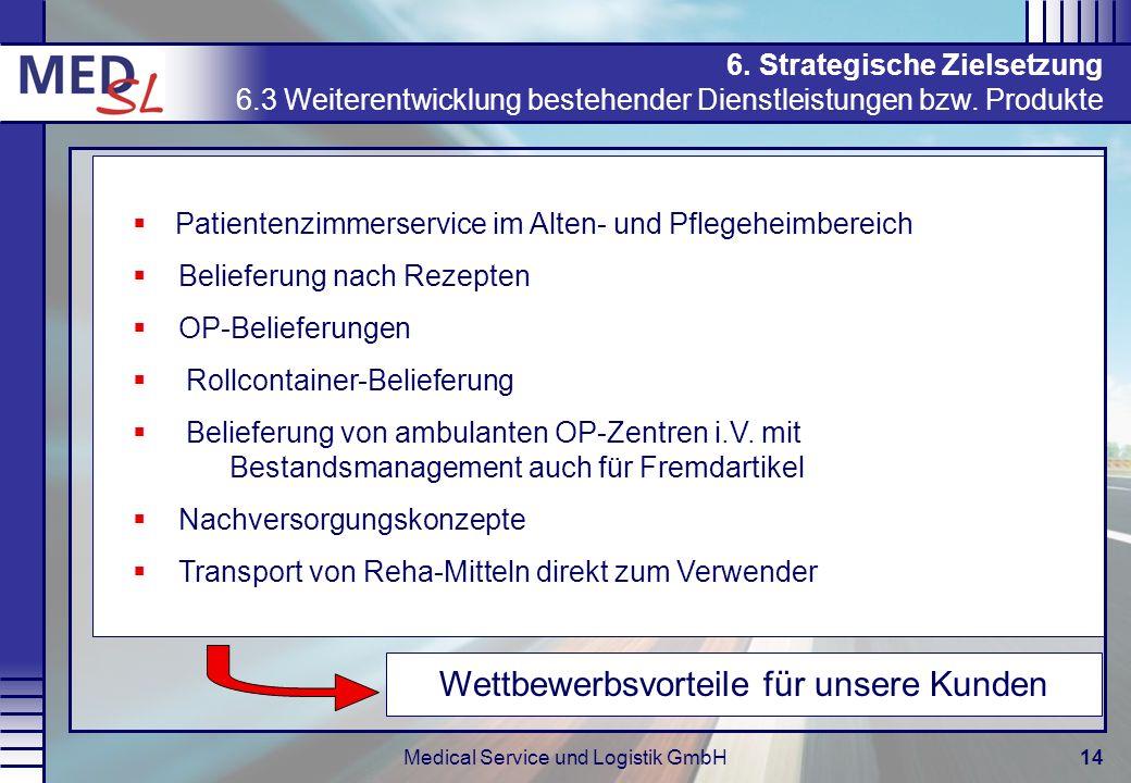 Medical Service und Logistik GmbH14 6. Strategische Zielsetzung 6.3 Weiterentwicklung bestehender Dienstleistungen bzw. Produkte Wettbewerbsvorteile f