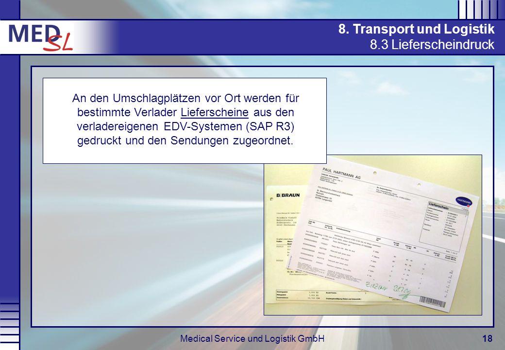 Medical Service und Logistik GmbH18 8. Transport und Logistik 8.3 Lieferscheindruck An den Umschlagplätzen vor Ort werden für bestimmte Verlader Liefe