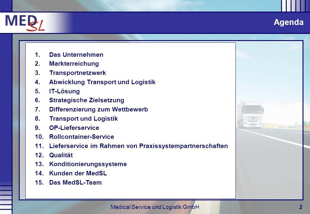 Medical Service und Logistik GmbH2 Agenda 1.Das Unternehmen 2.Markterreichung 3.Transportnetzwerk 4.Abwicklung Transport und Logistik 5.IT-Lösung 6.St