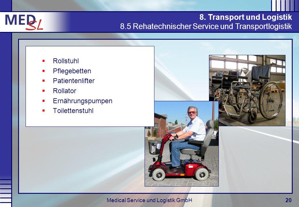 Medical Service und Logistik GmbH20 Rollstuhl Pflegebetten Patientenlifter Rollator Ernährungspumpen Toilettenstuhl 8. Transport und Logistik 8.5 Reha