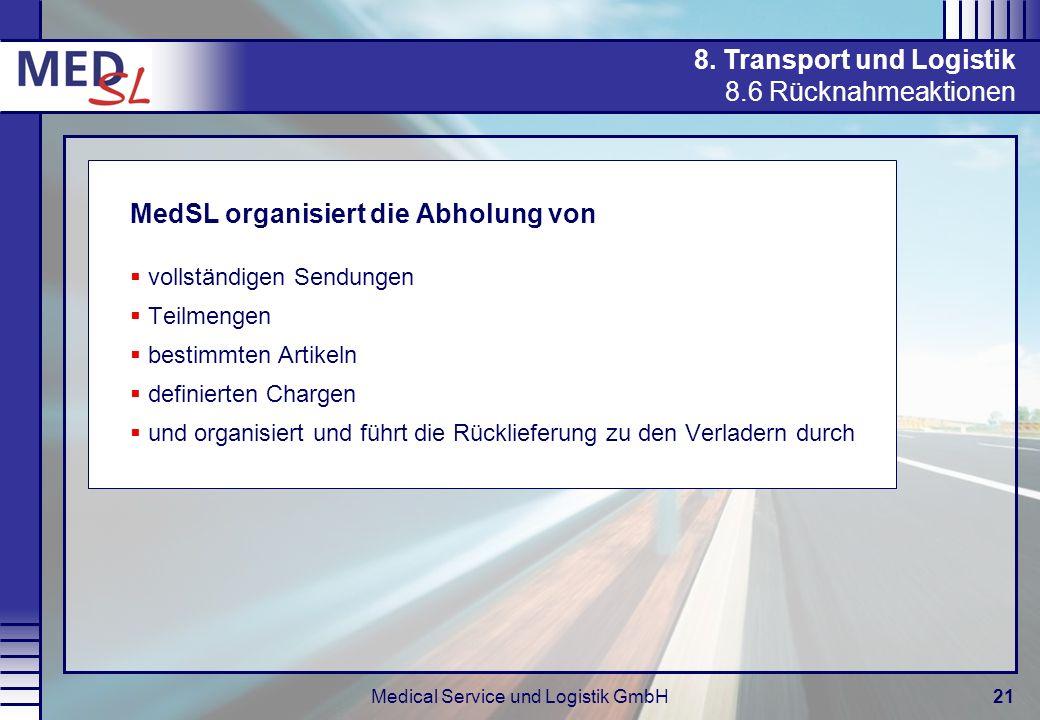 Medical Service und Logistik GmbH21 8. Transport und Logistik 8.6 Rücknahmeaktionen MedSL organisiert die Abholung von vollständigen Sendungen Teilmen