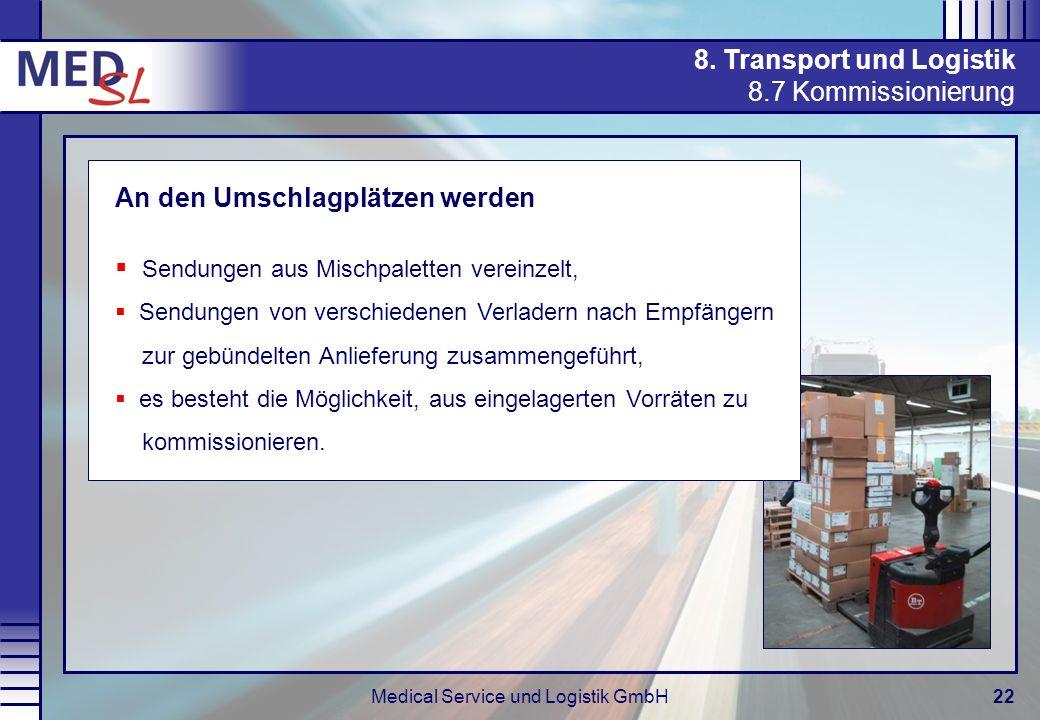 Medical Service und Logistik GmbH22 8. Transport und Logistik 8.7 Kommissionierung An den Umschlagplätzen werden Sendungen aus Mischpaletten vereinzel