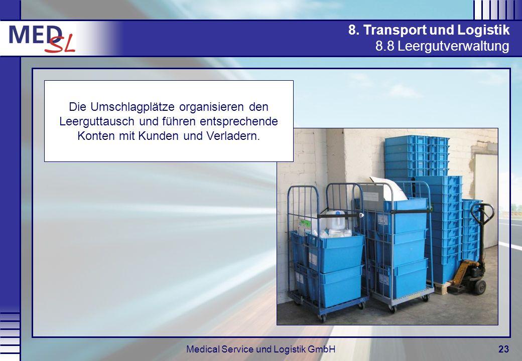 Medical Service und Logistik GmbH23 8. Transport und Logistik 8.8 Leergutverwaltung Die Umschlagplätze organisieren den Leerguttausch und führen entsp