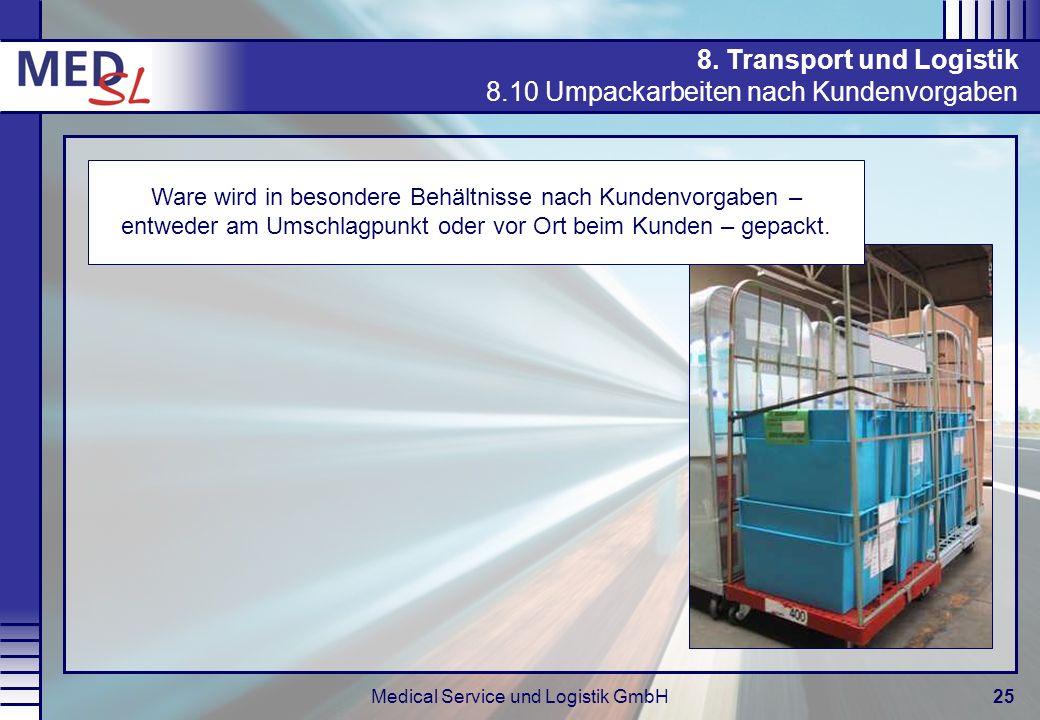 Medical Service und Logistik GmbH25 8. Transport und Logistik 8.10 Umpackarbeiten nach Kundenvorgaben Ware wird in besondere Behältnisse nach Kundenvo