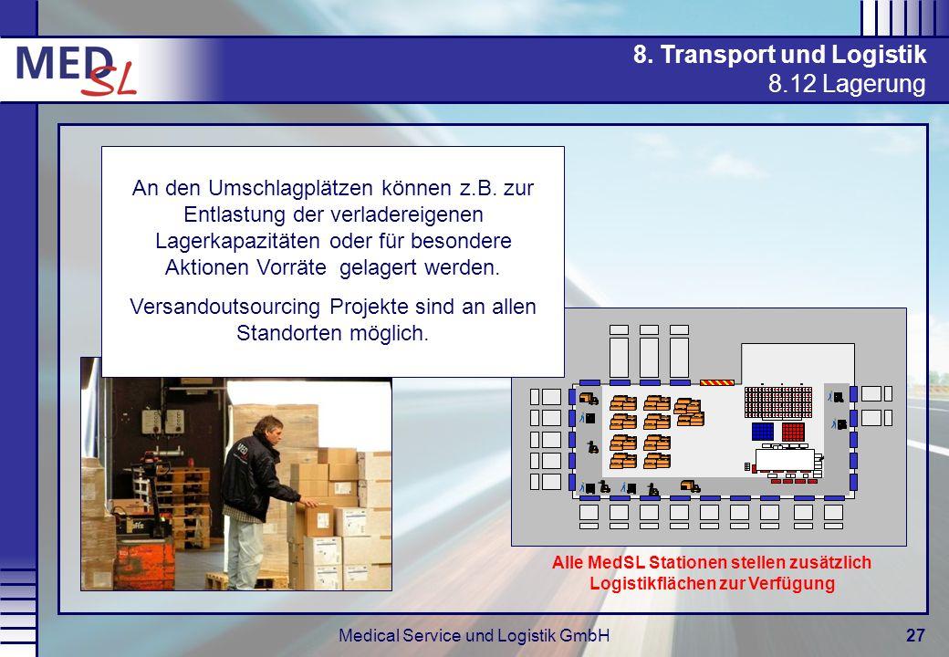 Medical Service und Logistik GmbH27 1 8. Transport und Logistik 8.12 Lagerung An den Umschlagplätzen können z.B. zur Entlastung der verladereigenen La
