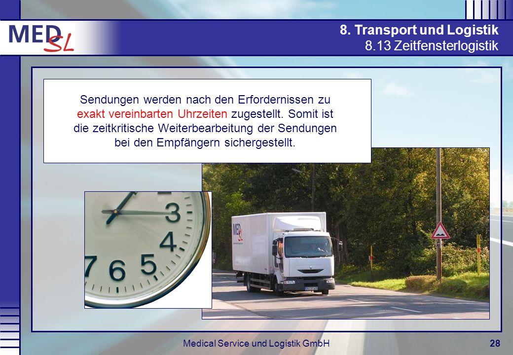 Medical Service und Logistik GmbH28 8. Transport und Logistik 8.13 Zeitfensterlogistik Sendungen werden nach den Erfordernissen zu exakt vereinbarten