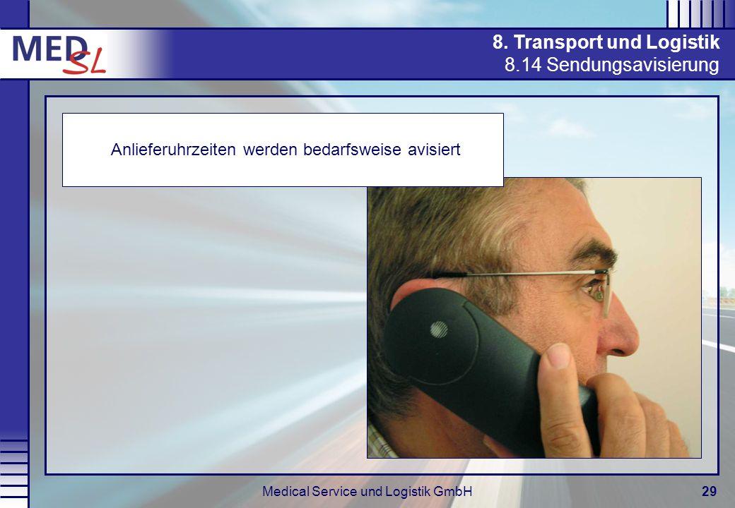 Medical Service und Logistik GmbH29 8. Transport und Logistik 8.14 Sendungsavisierung Anlieferuhrzeiten werden bedarfsweise avisiert