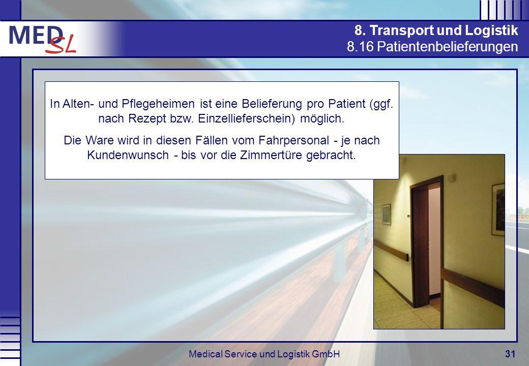 Medical Service und Logistik GmbH31 8. Transport und Logistik 8.16 Patientenbelieferungen In Alten- und Pflegeheimen ist eine Belieferung pro Patient