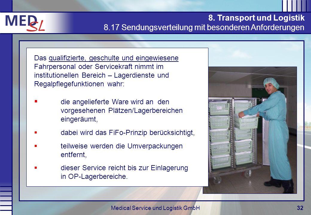 Medical Service und Logistik GmbH32 8. Transport und Logistik 8.17 Sendungsverteilung mit besonderen Anforderungen Das qualifizierte, geschulte und ei