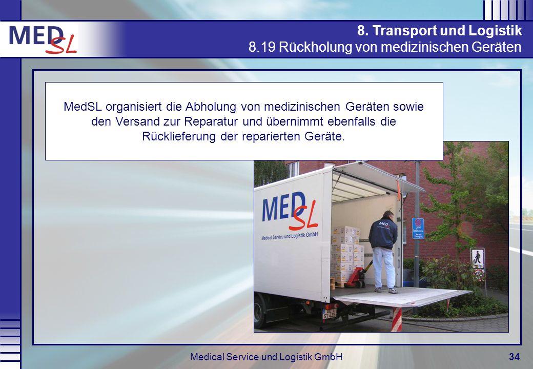 Medical Service und Logistik GmbH34 8. Transport und Logistik 8.19 Rückholung von medizinischen Geräten MedSL organisiert die Abholung von medizinisch