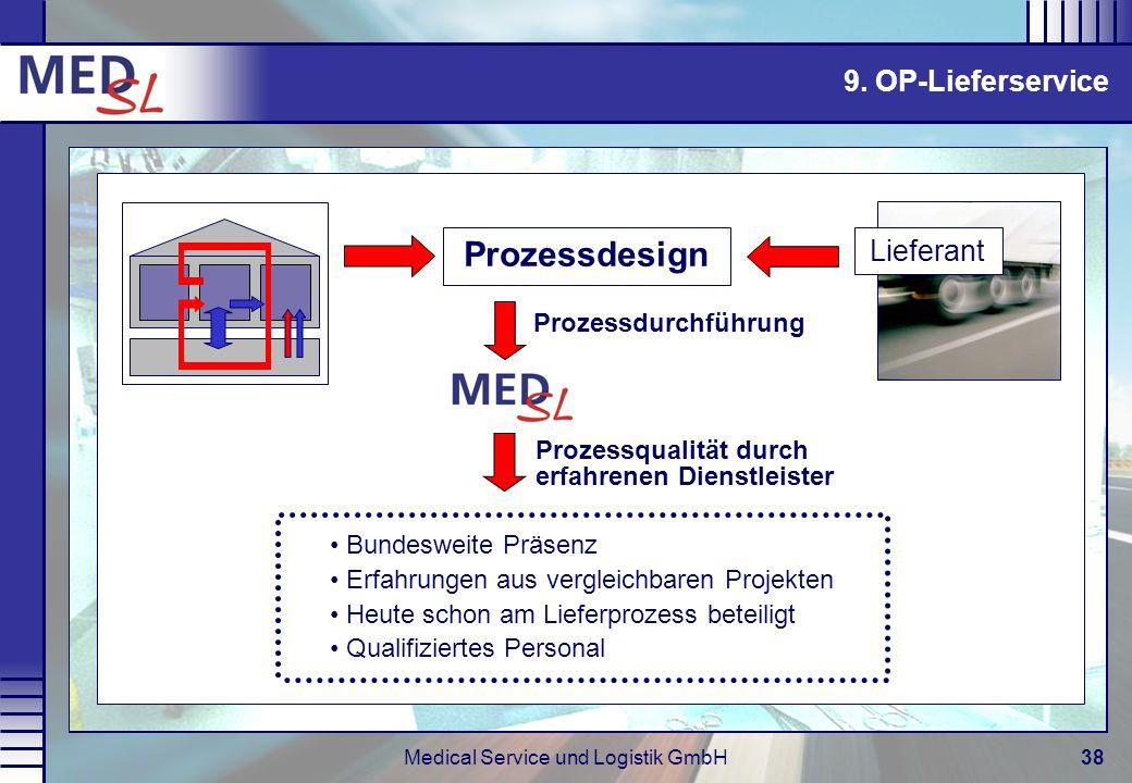 Medical Service und Logistik GmbH38 9. OP-Lieferservice Prozessdurchführung Prozessqualität durch erfahrenen Dienstleister Bundesweite Präsenz Erfahru