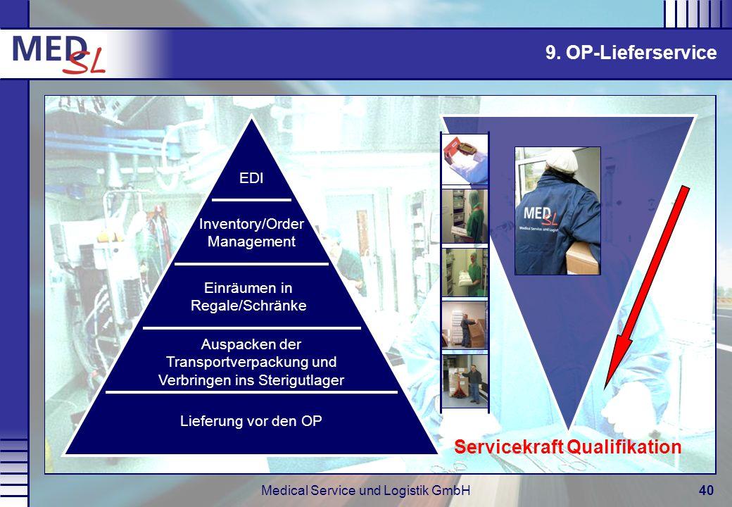 Medical Service und Logistik GmbH40 9. OP-Lieferservice Servicekraft Qualifikation Lieferung vor den OP Auspacken der Transportverpackung und Verbring