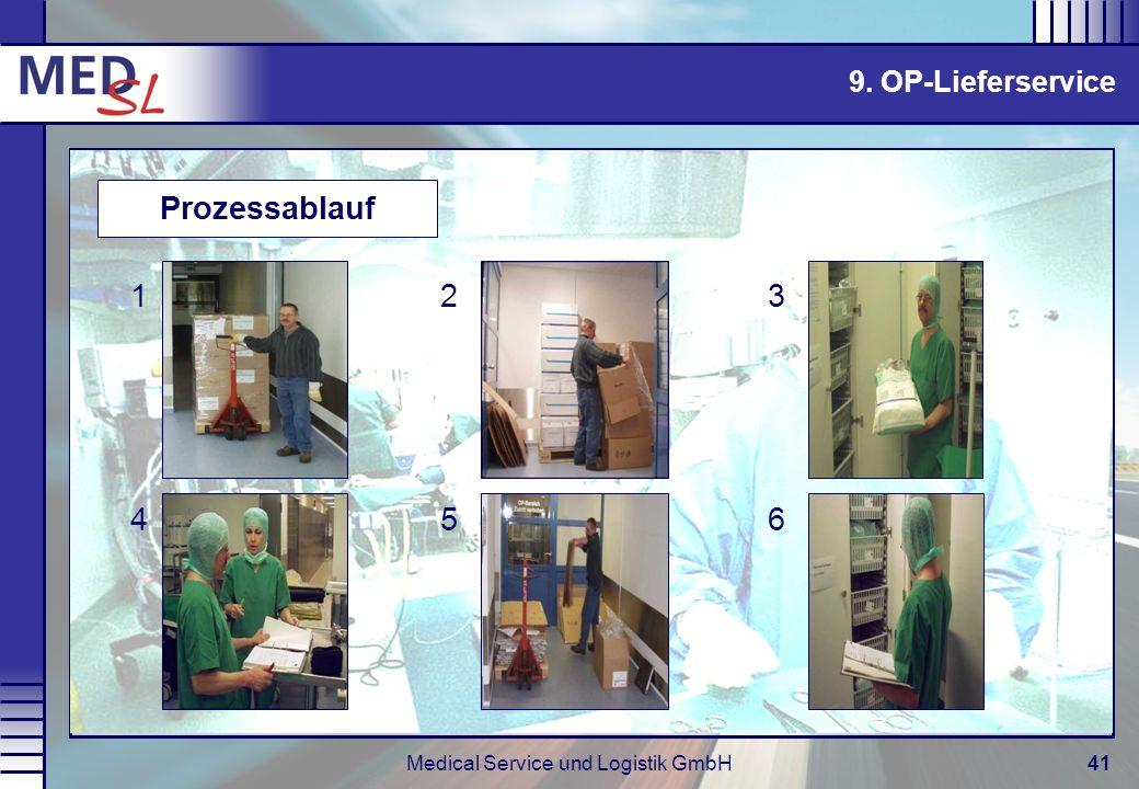Medical Service und Logistik GmbH41 9. OP-Lieferservice Prozessablauf 132 465