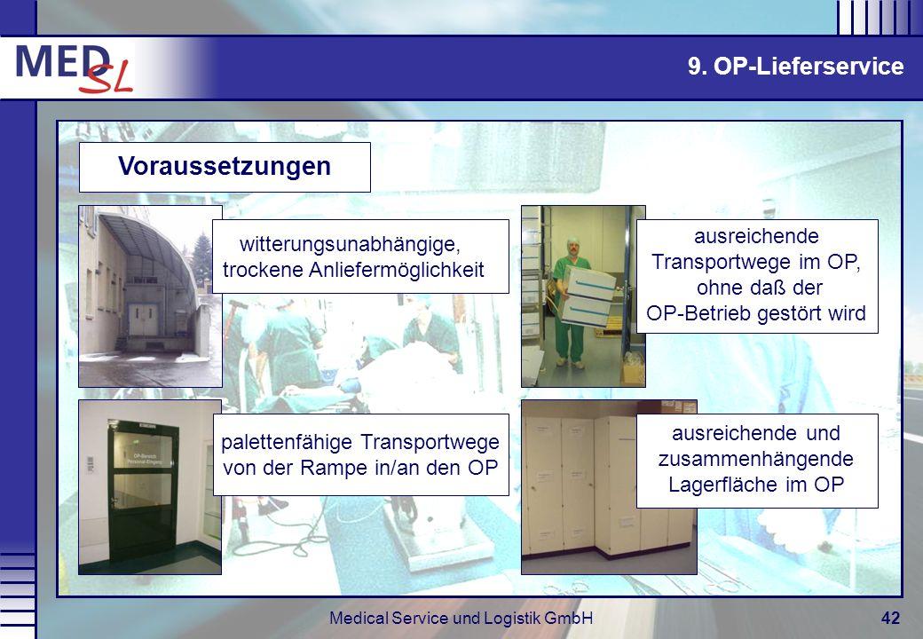Medical Service und Logistik GmbH42 palettenfähige Transportwege von der Rampe in/an den OP witterungsunabhängige, trockene Anliefermöglichkeit Voraus