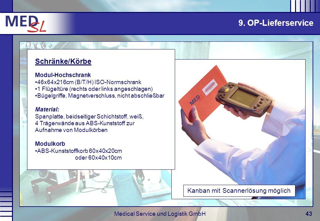 Medical Service und Logistik GmbH43 Kanban mit Scannerlösung möglich Schränke/Körbe Modul-Hochschrank 46x64x216cm (B/T/H) ISO-Normschrank 1 Flügeltüre