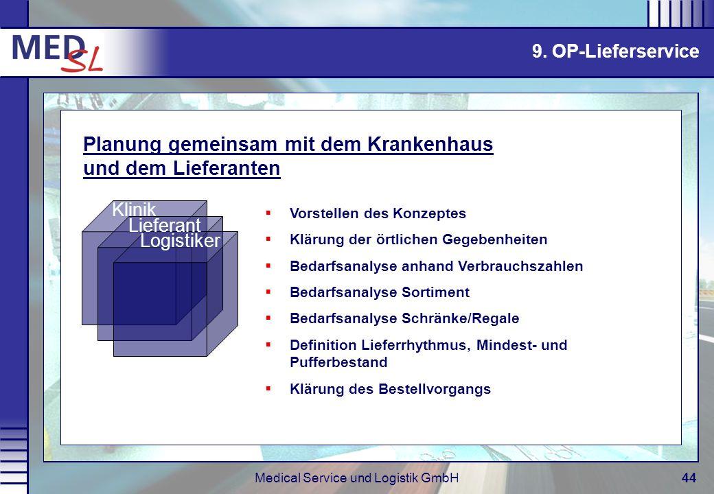 Medical Service und Logistik GmbH44 Vorstellen des Konzeptes Klärung der örtlichen Gegebenheiten Bedarfsanalyse anhand Verbrauchszahlen Bedarfsanalyse