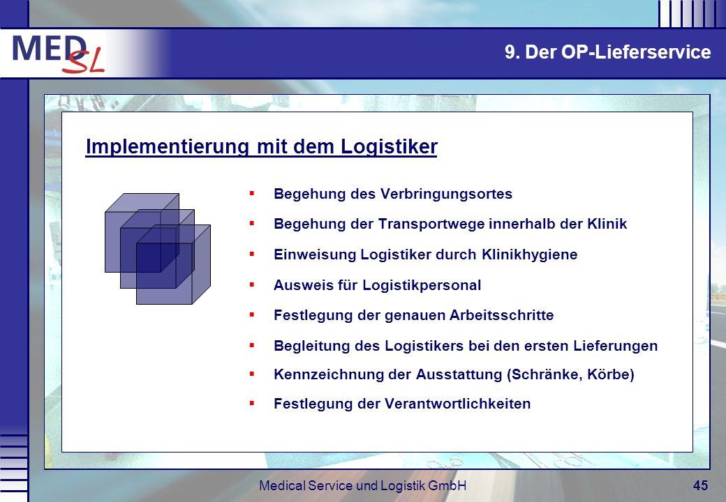 Medical Service und Logistik GmbH45 Begehung des Verbringungsortes Begehung der Transportwege innerhalb der Klinik Einweisung Logistiker durch Klinikh