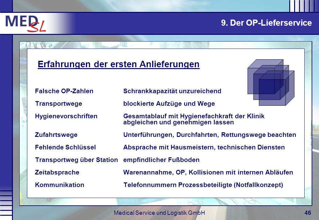 Medical Service und Logistik GmbH46 Falsche OP-ZahlenSchrankkapazität unzureichend Transportwege blockierte Aufzüge und Wege HygienevorschriftenGesamt