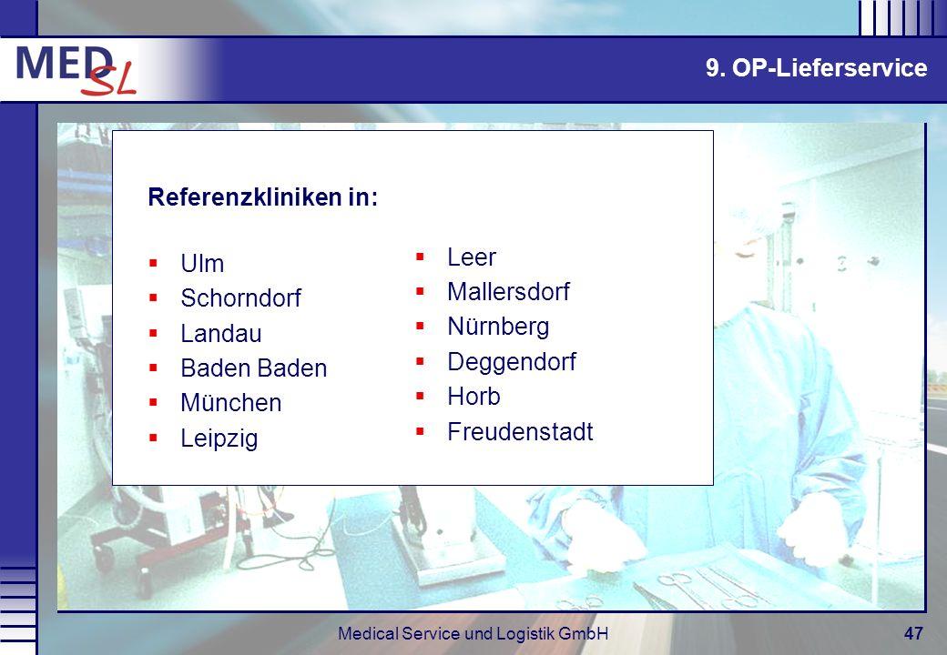 Medical Service und Logistik GmbH47 Referenzkliniken in: Ulm Schorndorf Landau Baden Baden München Leipzig 9. OP-Lieferservice Leer Mallersdorf Nürnbe