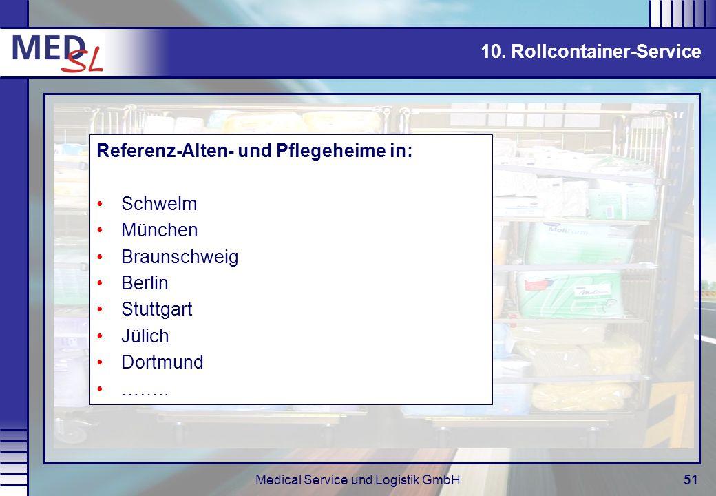 Medical Service und Logistik GmbH51 10. Rollcontainer-Service Referenz-Alten- und Pflegeheime in: Schwelm München Braunschweig Berlin Stuttgart Jülich