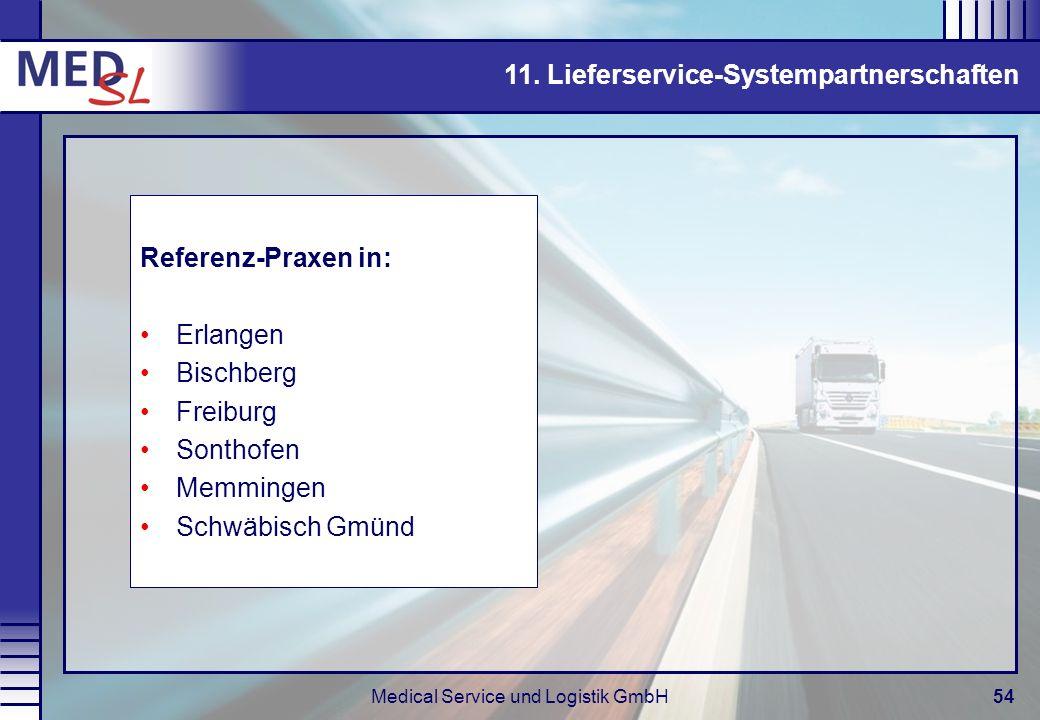 Medical Service und Logistik GmbH54 11. Lieferservice-Systempartnerschaften Referenz-Praxen in: Erlangen Bischberg Freiburg Sonthofen Memmingen Schwäb