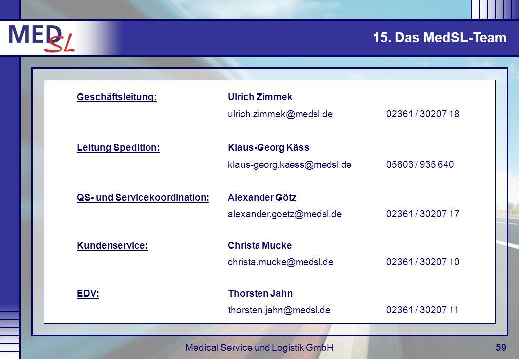 Medical Service und Logistik GmbH59 15. Das MedSL-Team Geschäftsleitung: Ulrich Zimmek ulrich.zimmek@medsl.de 02361 / 30207 18 Leitung Spedition: Klau