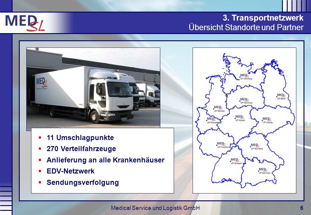 Medical Service und Logistik GmbH6 3. Transportnetzwerk Übersicht Standorte und Partner 11 Umschlagpunkte 270 Verteilfahrzeuge Anlieferung an alle Kra