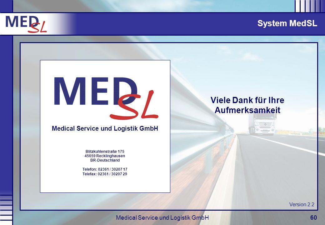 Medical Service und Logistik GmbH60 Viele Dank für Ihre Aufmerksamkeit System MedSL Medical Service und Logistik GmbH Blitzkuhlenstraße 175 45659 Reck