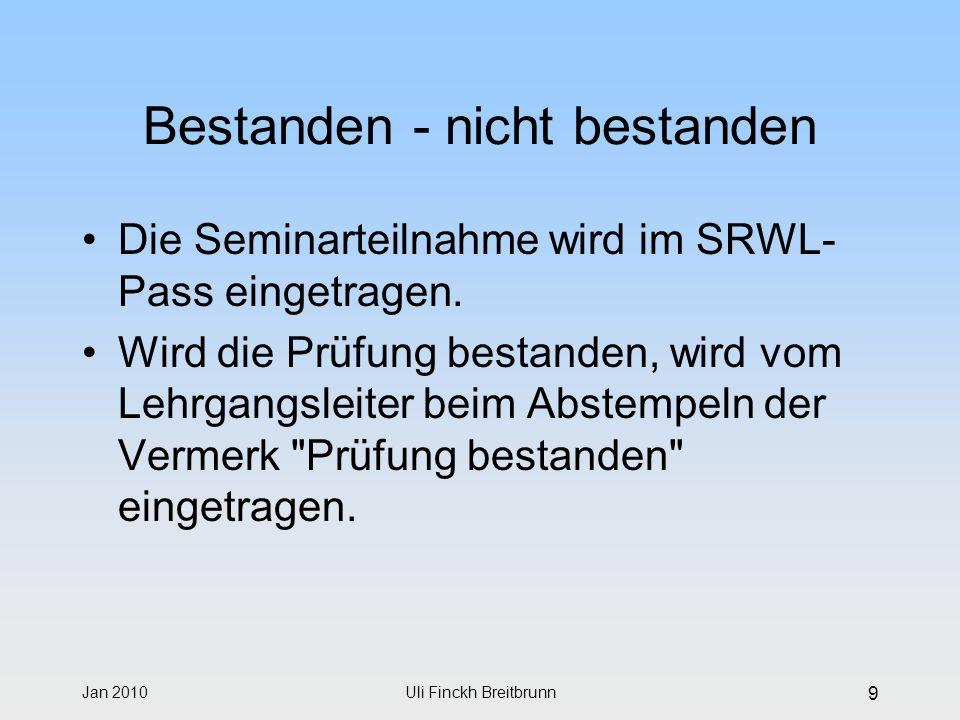 Jan 2010Uli Finckh Breitbrunn 9 Bestanden - nicht bestanden Die Seminarteilnahme wird im SRWL- Pass eingetragen. Wird die Prüfung bestanden, wird vom