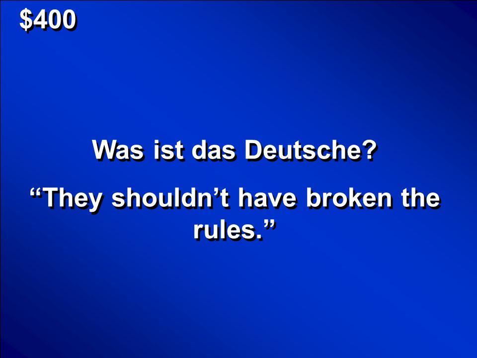 © Mark E.Damon - All Rights Reserved $400 Was ist das Deutsche.