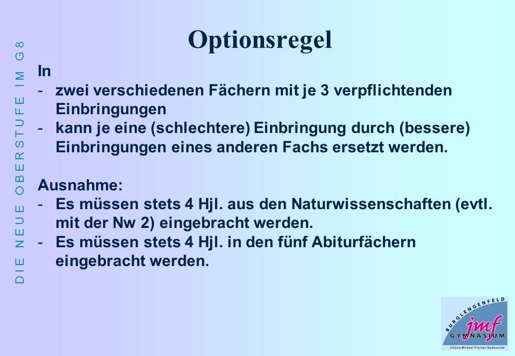 D I E N E U E O B E R S T U F E I M G 8 Optionsregel In -zwei verschiedenen Fächern mit je 3 verpflichtenden Einbringungen -kann je eine (schlechtere)