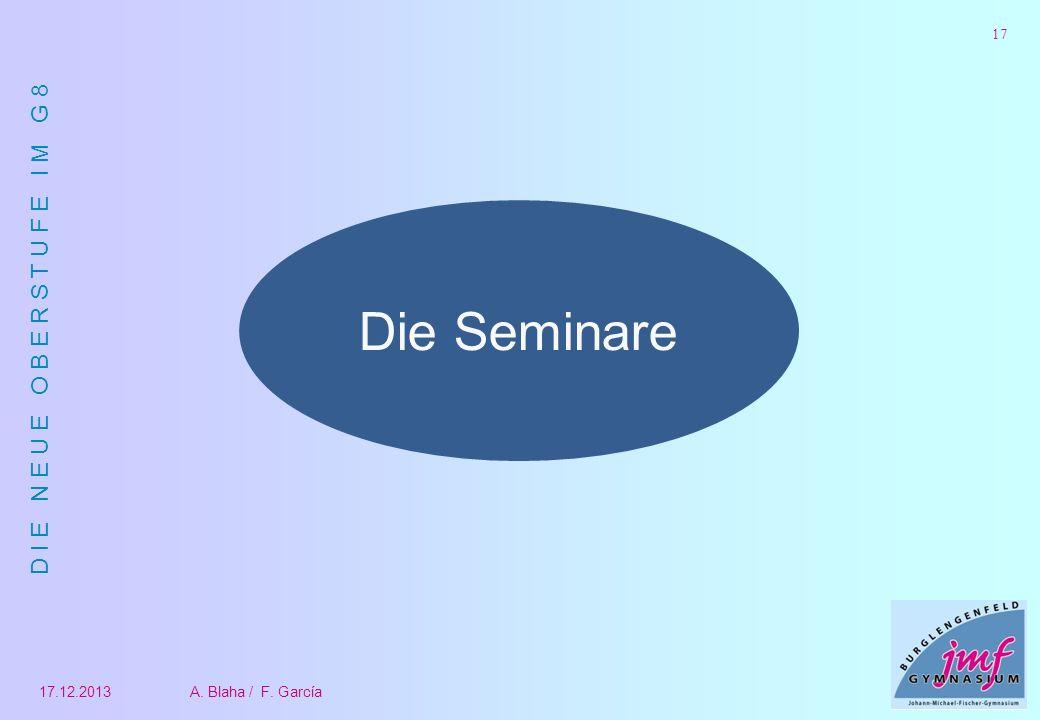 D I E N E U E O B E R S T U F E I M G 8 17.12.2013A. Blaha / F. García 17 Die Seminare