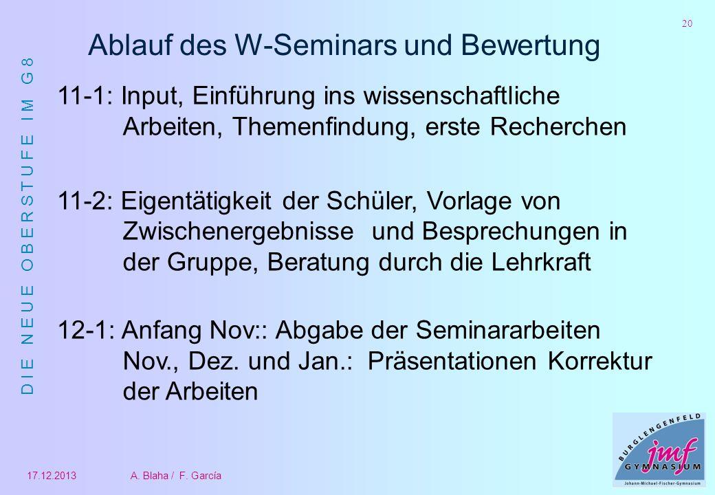 D I E N E U E O B E R S T U F E I M G 8 17.12.2013A. Blaha / F. García 20 Ablauf des W-Seminars und Bewertung 11-1: Input, Einführung ins wissenschaft