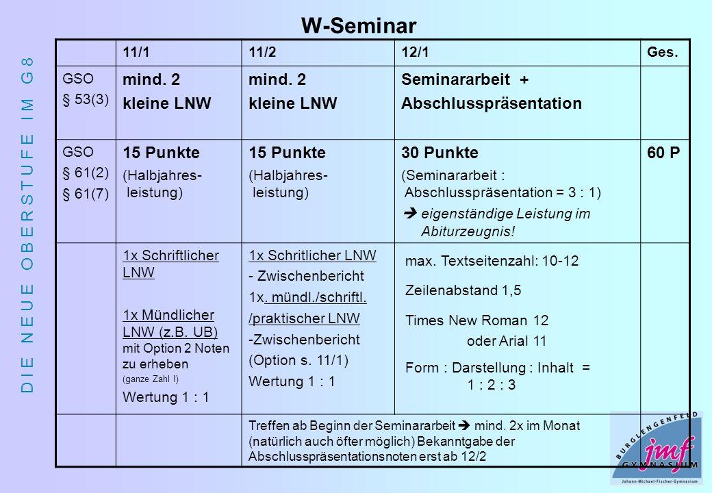D I E N E U E O B E R S T U F E I M G 8 W-Seminar 11/111/212/1Ges. GSO § 53(3) mind. 2 kleine LNW mind. 2 kleine LNW Seminararbeit + Abschlusspräsenta