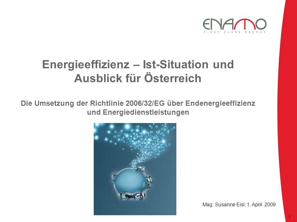 Energieeffizienz – Ist-Situation und Ausblick für Österreich Die Umsetzung der Richtlinie 2006/32/EG über Endenergieeffizienz und Energiedienstleistun